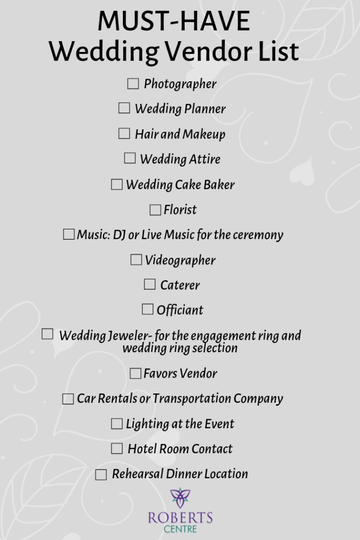 Must-Have Wedding Vendor List